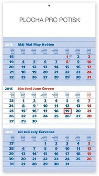 Štandard modrý 3mesačný so slovenskými menami - nástenný kalendár 2015