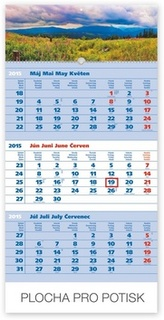 Tatry modrý 3mesačný so slovenskými menami - nástenný kalendár 2015
