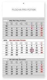 Štandard šedý 3mesačný - nástěnný kalendář 2016