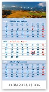 Tatry modrý 3mesačný - nástěnný kalendář 2016