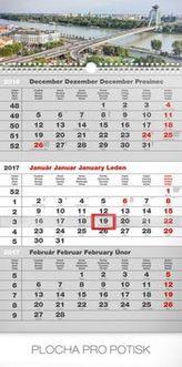 Mesto šedý 3mesačný - nástenný kalendár 2017