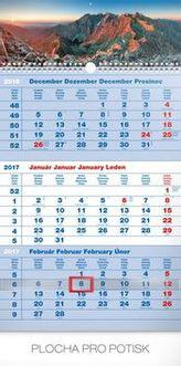 Tatry modrý 3mesačný - nástenný kalendár 2017