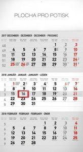3mesačný štandard šedý 2018 - nástěnný kalendár