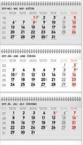Tříměsíční kalendář standard skládací - nástěnný kalendář 2019