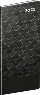 Diář 2021 kapesní: Čierny kov (slovenská verze), plánovací měsíční, 8 × 18 cm